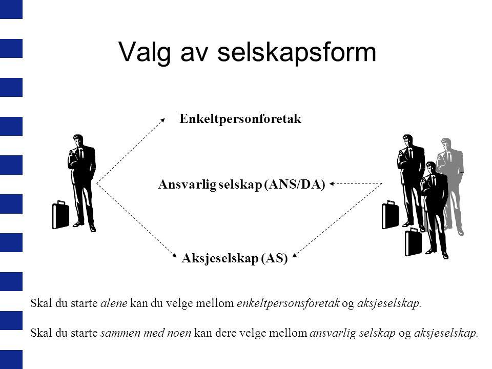 Valg av selskapsform Enkeltpersonforetak Ansvarlig selskap (ANS/DA) Aksjeselskap (AS) Skal du starte alene kan du velge mellom enkeltpersonsforetak og aksjeselskap.