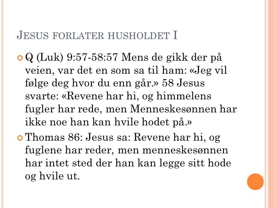 J ESUS FORLATER HUSHOLDET II Q (Luk) 9:59-60.
