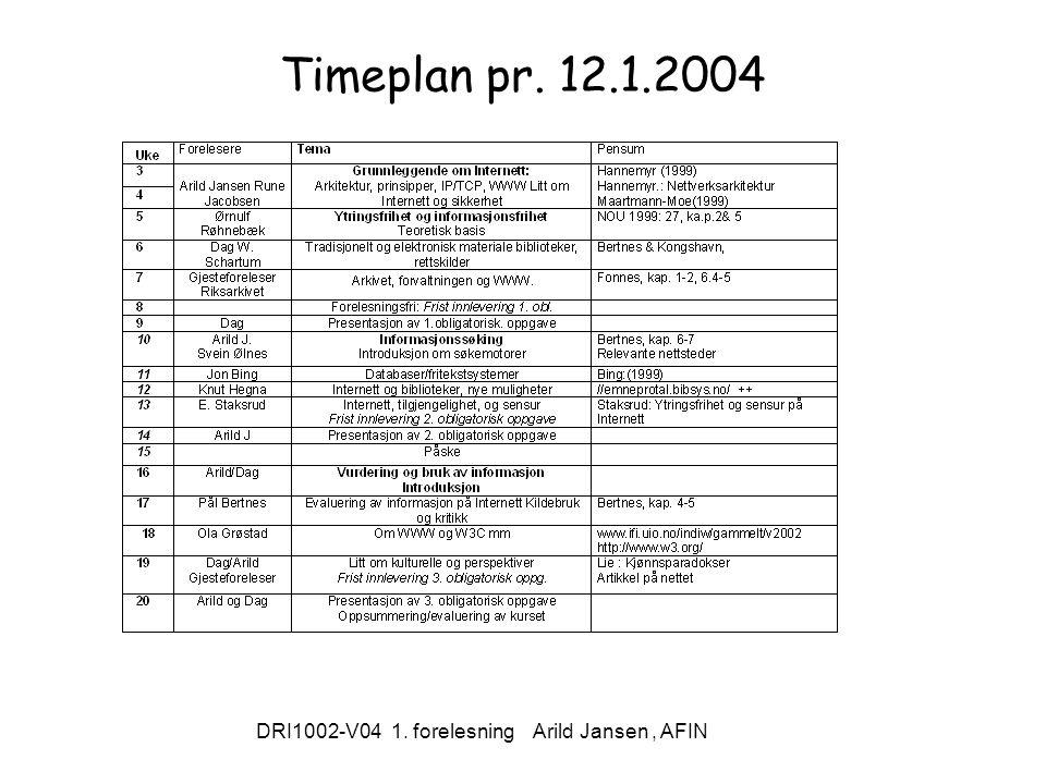 DRI1002-V04 1. forelesning Arild Jansen, AFIN Timeplan pr. 12.1.2004