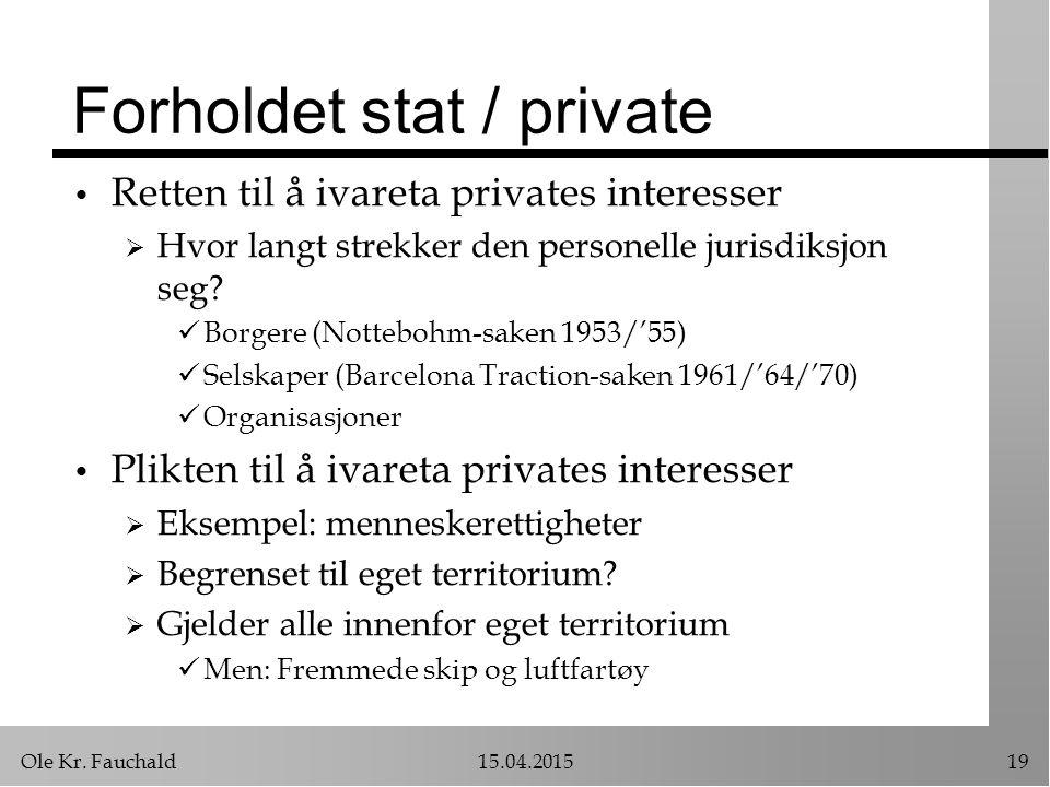 Ole Kr. Fauchald15.04.201519 Forholdet stat / private Retten til å ivareta privates interesser  Hvor langt strekker den personelle jurisdiksjon seg?