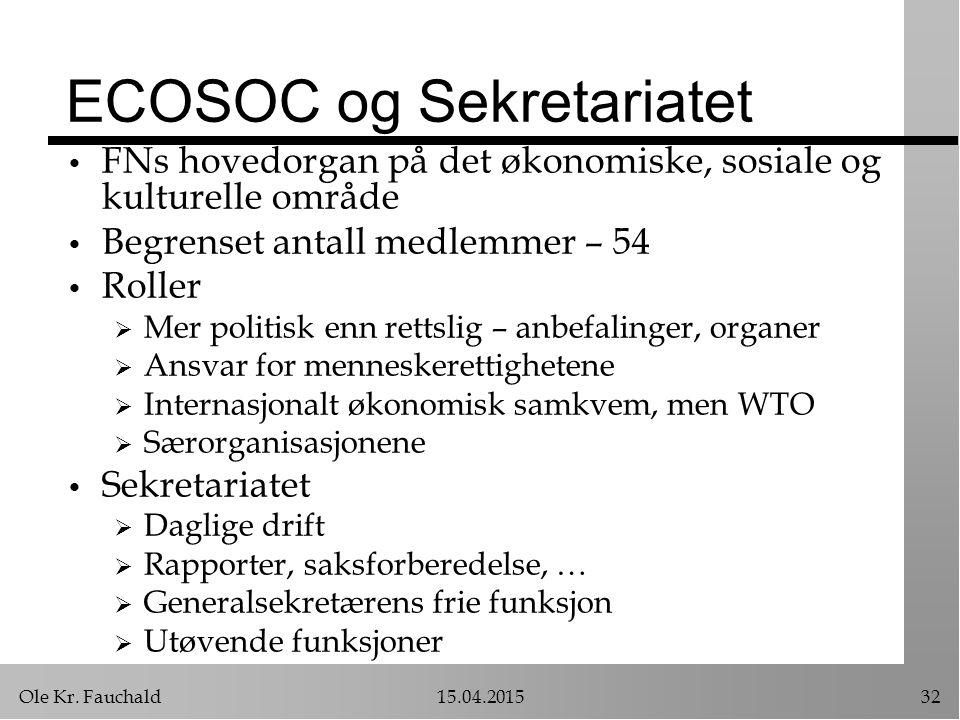 Ole Kr. Fauchald15.04.201532 ECOSOC og Sekretariatet FNs hovedorgan på det økonomiske, sosiale og kulturelle område Begrenset antall medlemmer – 54 Ro