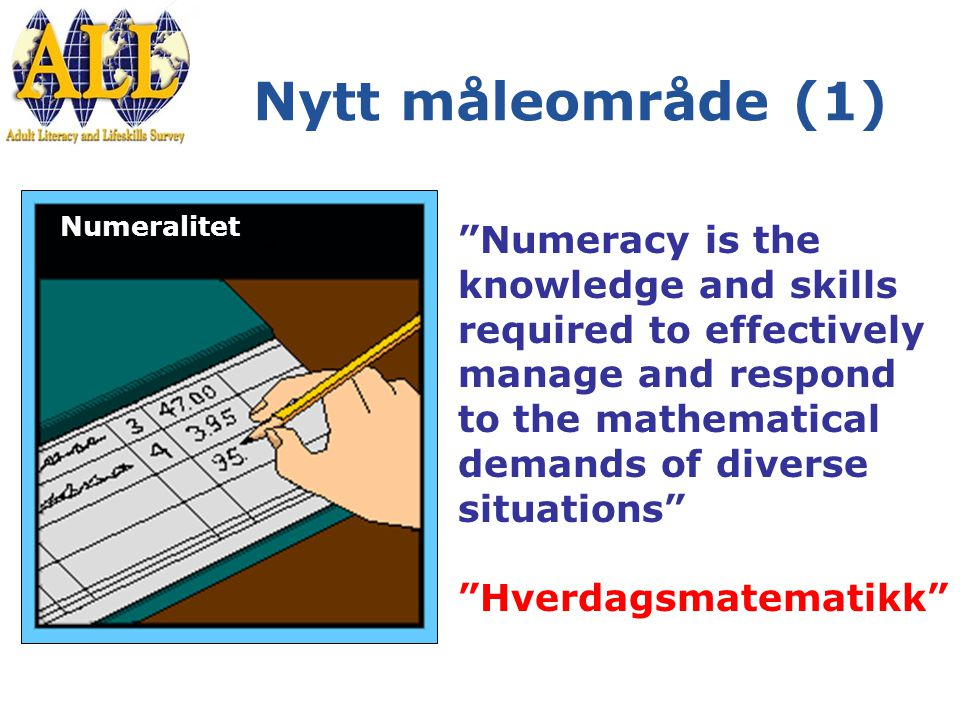 Nytt måleområde (1) Numeralitet Numeracy is the knowledge and skills required to effectively manage and respond to the mathematical demands of diverse situations Hverdagsmatematikk