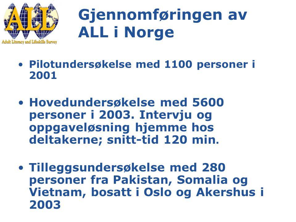 Gjennomføringen av ALL i Norge Pilotundersøkelse med 1100 personer i 2001 Hovedundersøkelse med 5600 personer i 2003.