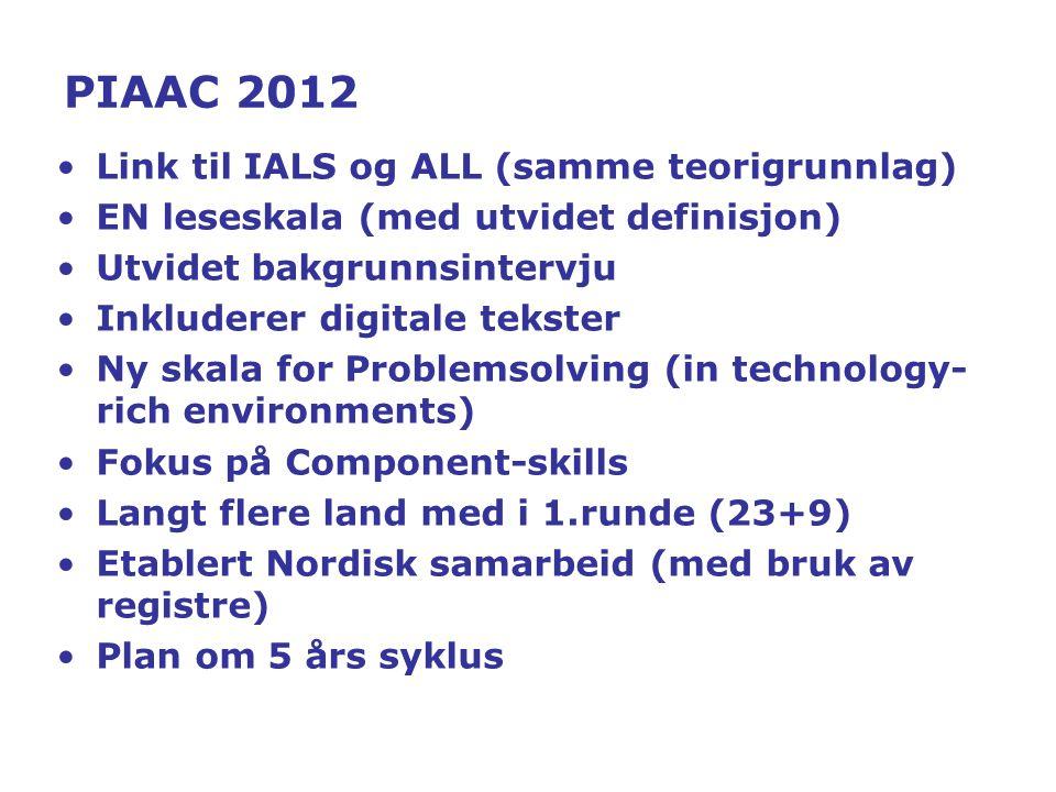PIAAC 2012 Link til IALS og ALL (samme teorigrunnlag) EN leseskala (med utvidet definisjon) Utvidet bakgrunnsintervju Inkluderer digitale tekster Ny skala for Problemsolving (in technology- rich environments) Fokus på Component-skills Langt flere land med i 1.runde (23+9) Etablert Nordisk samarbeid (med bruk av registre) Plan om 5 års syklus