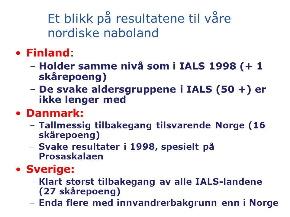 Et blikk på resultatene til våre nordiske naboland Finland: –Holder samme nivå som i IALS 1998 (+ 1 skårepoeng) –De svake aldersgruppene i IALS (50 +) er ikke lenger med Danmark: –Tallmessig tilbakegang tilsvarende Norge (16 skårepoeng) –Svake resultater i 1998, spesielt på Prosaskalaen Sverige: –Klart størst tilbakegang av alle IALS-landene (27 skårepoeng) –Enda flere med innvandrerbakgrunn enn i Norge
