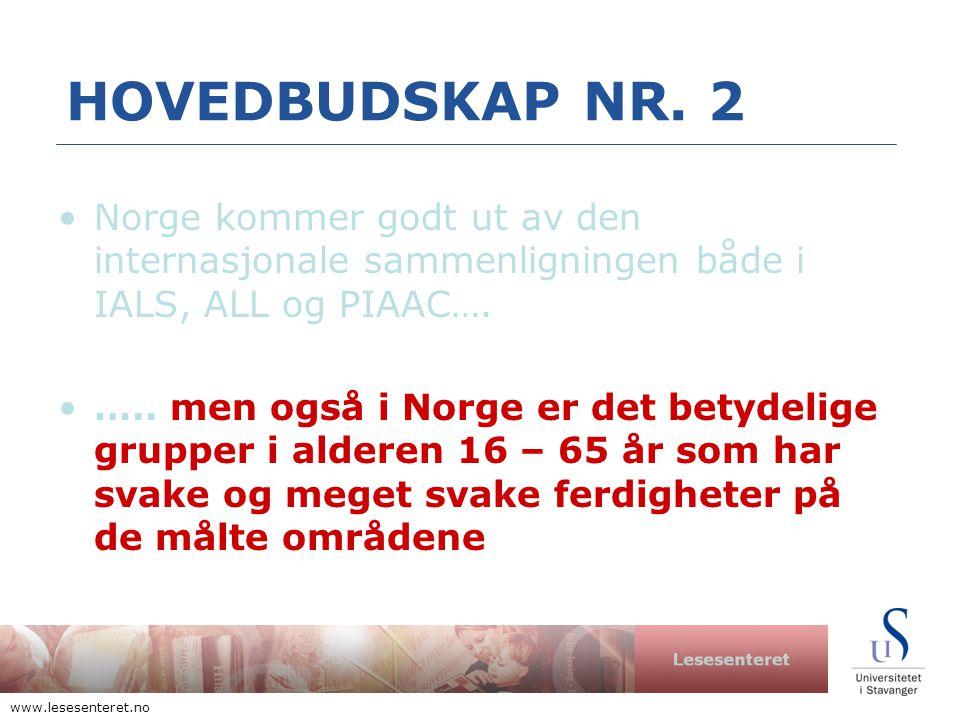 Lesesenteret www.lesesenteret.no HOVEDBUDSKAP NR.