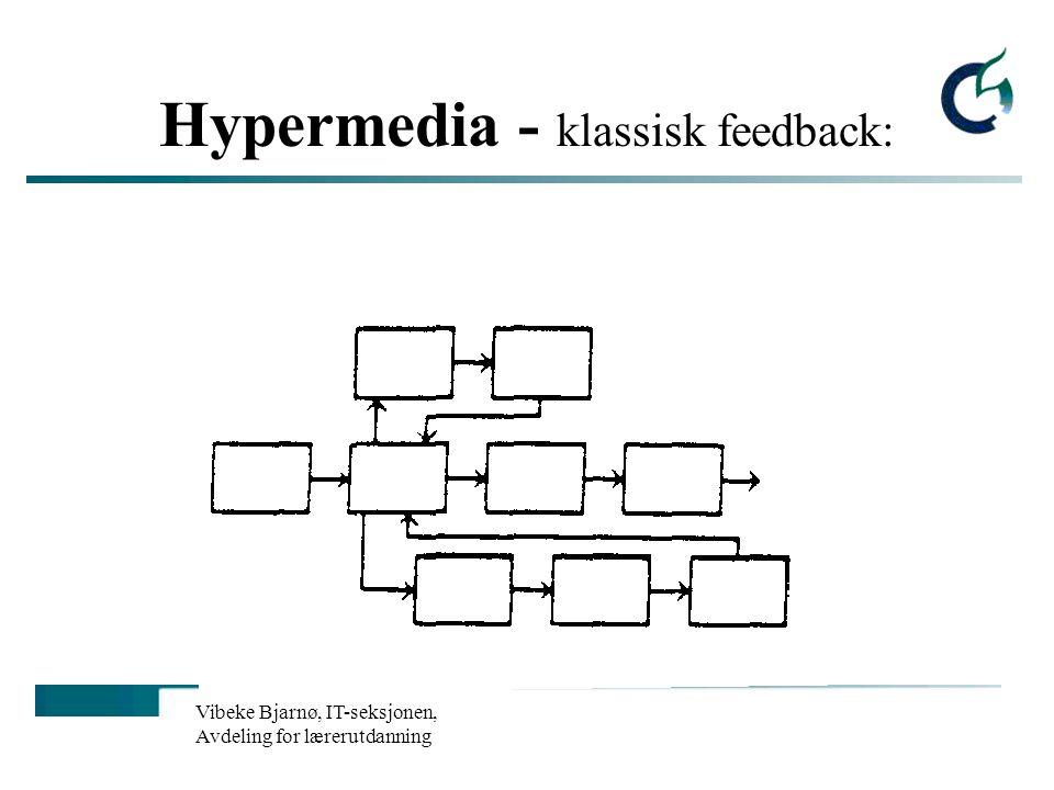 Vibeke Bjarnø, IT-seksjonen, Avdeling for lærerutdanning Hypermedia - klassisk feedback: