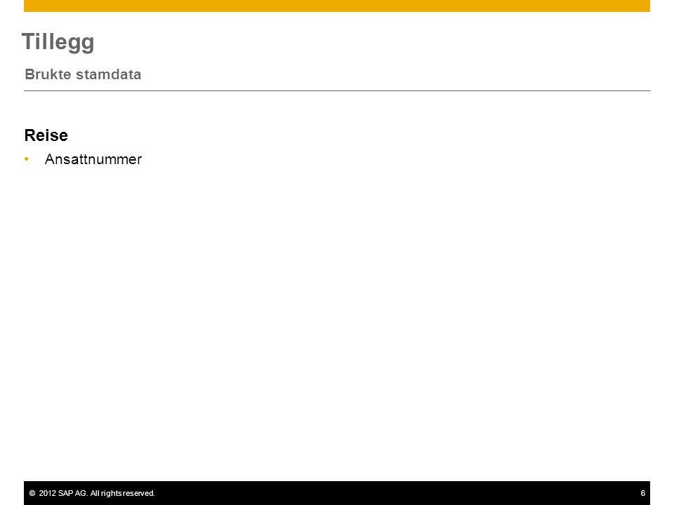 ©2012 SAP AG. All rights reserved.6 Tillegg Brukte stamdata Reise Ansattnummer