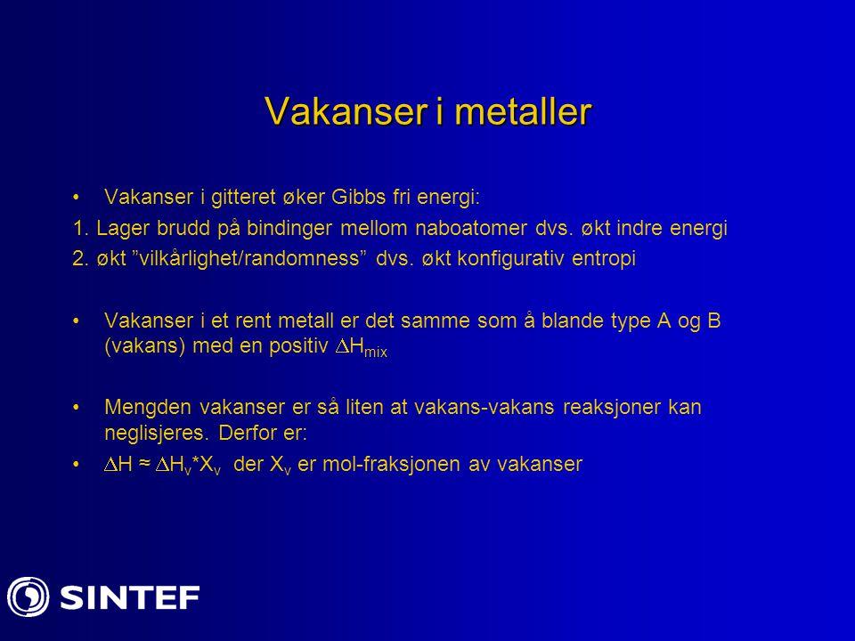 Vakanser II Entropien endrer seg ved å legge til vakanser i et metall 1.