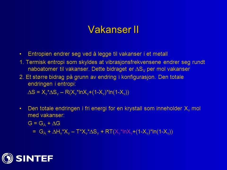 Vakanser II Entropien endrer seg ved å legge til vakanser i et metall 1. Termisk entropi som skyldes at vibrasjonsfrekvensene endrer seg rundt naboato