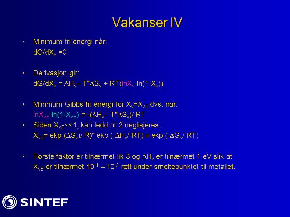 Vakanser IV Minimum fri energi når: dG/dX v =0 Derivasjon gir: dG/dX v =  H v – T*  S v + RT(lnX v -ln(1-X v )) Minimum Gibbs fri energi for X v =X