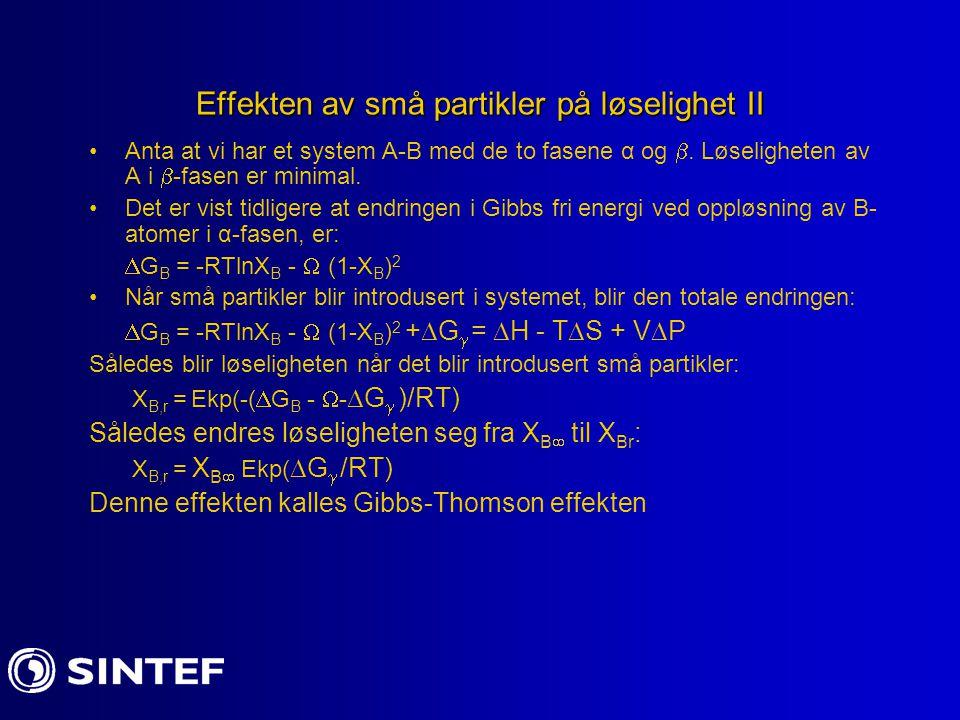 For små verdier av eksponenten er Gibbs- Thomson effekten: X Br =X B  (1+[2  Vm/RTr]) Et typisk eksempel:  =200mJ m -2 ; V m =10 -5 m 3 ; R=8,31Jmol -1 K -1 ;T=500 K; Det gir: X Br /X B  ≈ 1,1 når r=10 nm