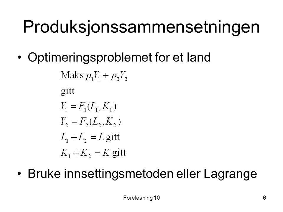 Forelesning 106 Produksjonssammensetningen Optimeringsproblemet for et land Bruke innsettingsmetoden eller Lagrange