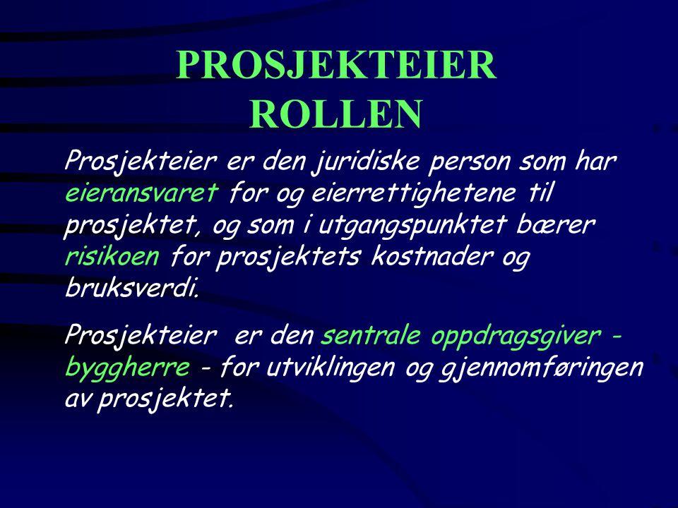 PROSJEKTEIER ROLLEN Prosjekteier er den juridiske person som har eieransvaret for og eierrettighetene til prosjektet, og som i utgangspunktet bærer ri