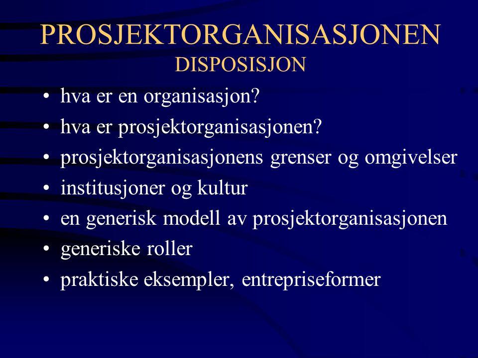 PROSJEKTORGANISASJONEN DISPOSISJON hva er en organisasjon? hva er prosjektorganisasjonen? prosjektorganisasjonens grenser og omgivelser institusjoner