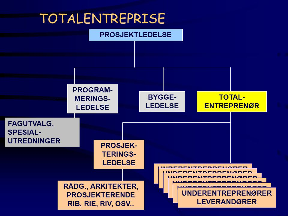 TOTALENTREPRISE PROSJEKTLEDELSE PROSJEK- TERINGS- LEDELSE TOTAL- ENTREPRENØR PROGRAM- MERINGS- LEDELSE FAGUTVALG, SPESIAL- UTREDNINGER RÅDG., ARKITEKT