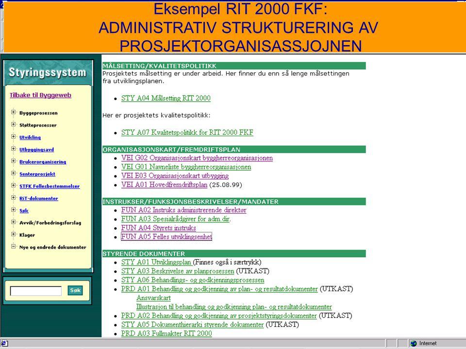 Eksempel RIT 2000 FKF: ADMINISTRATIV STRUKTURERING AV PROSJEKTORGANISASSJOJNEN