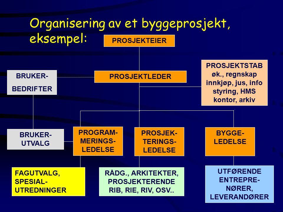 BRUKER- BEDRIFTER BRUKER- UTVALG PROGRAM- MERINGS- LEDELSE FAGUTVALG, SPESIAL- UTREDNINGER Organisering av et byggeprosjekt, eksempel: PROSJEKTLEDER PROSJEKTEIERPROSJEKTSTAB øk., regnskap innkjøp, jus, info styring, HMS kontor, arkiv PROSJEK- TERINGS- LEDELSE RÅDG., ARKITEKTER, PROSJEKTERENDE RIB, RIE, RIV, OSV..