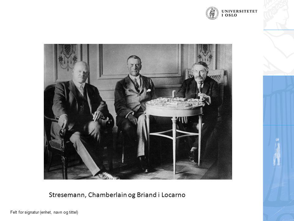 Felt for signatur (enhet, navn og tittel) Stresemann, Chamberlain og Briand i Locarno