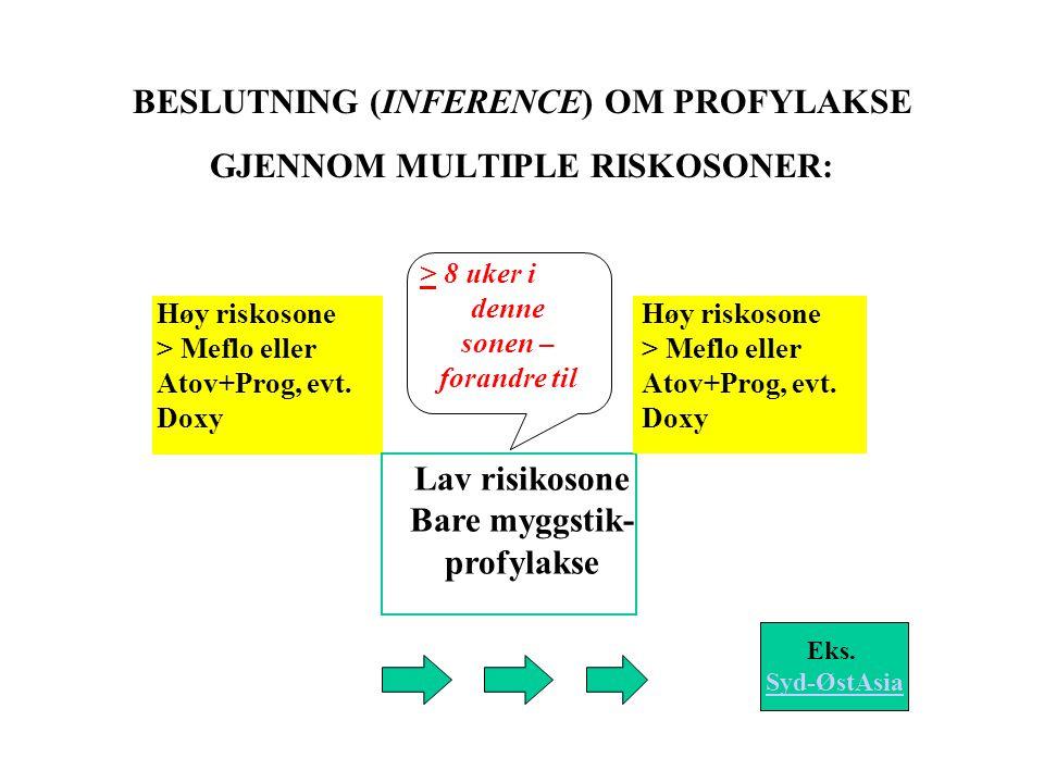 BESLUTNING (INFERENCE) OM PROFYLAKSE GJENNOM MULTIPLE RISKOSONER: Høy riskosone > Meflo eller Atov+Prog, evt.