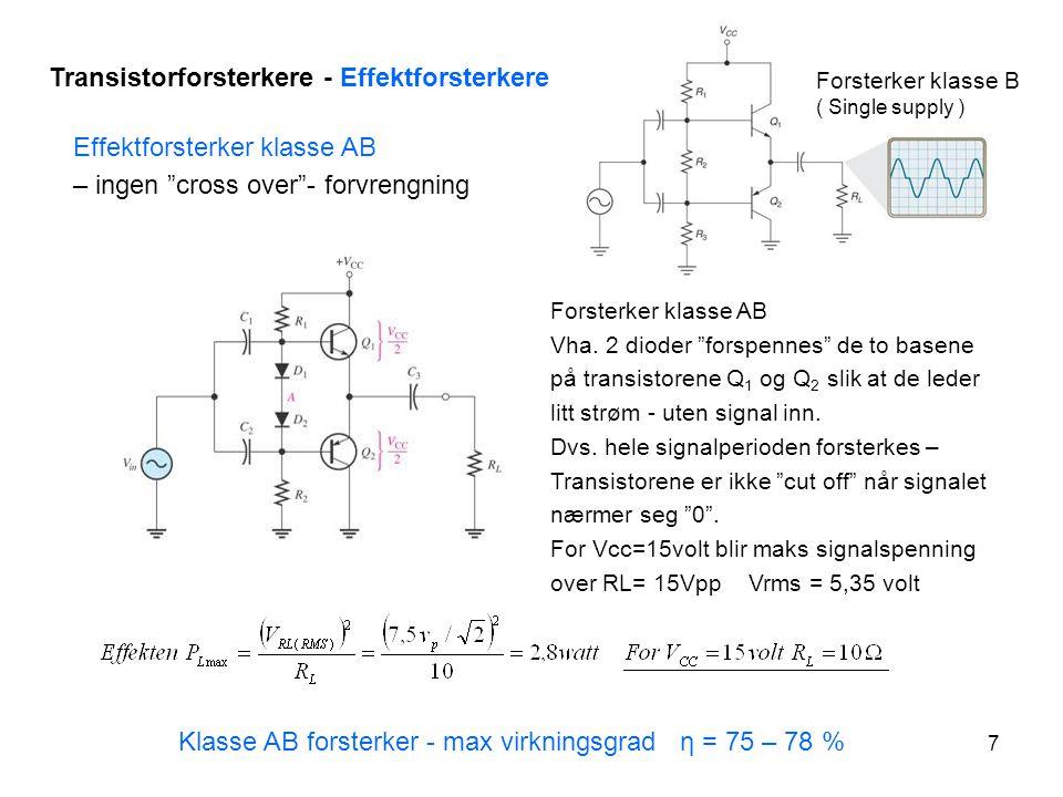 8 Transistorforsterkere – Effektforsterkere - Klasse D Class D - forsterkere finnes I flere utgaver– noen har digital inngang andre analog.