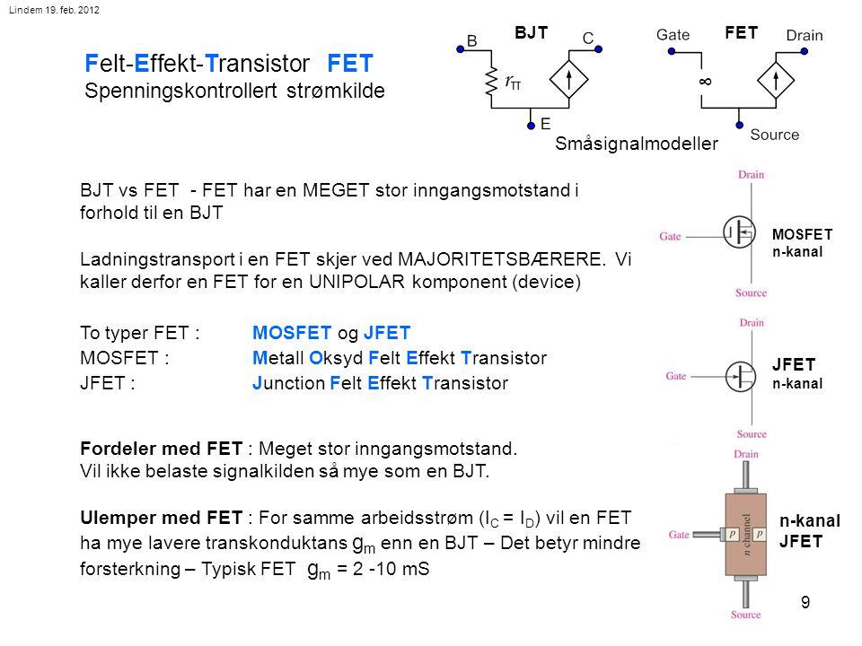 10 Felteffekt-transistor FET JFET : Junction Felt Effekt Transistor n-kanal JFET breakdown voltage (VBR ) Mellom p- og n- dannes et sperresjikt (som i en vanlig diode).