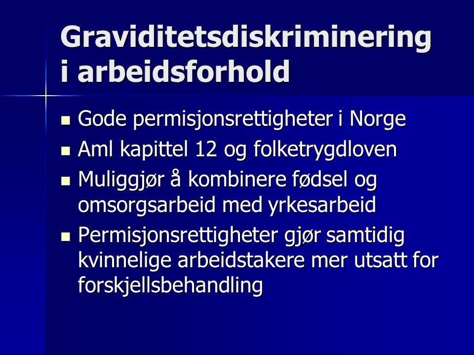 Graviditetsdiskriminering i arbeidsforhold Gode permisjonsrettigheter i Norge Gode permisjonsrettigheter i Norge Aml kapittel 12 og folketrygdloven Aml kapittel 12 og folketrygdloven Muliggjør å kombinere fødsel og omsorgsarbeid med yrkesarbeid Muliggjør å kombinere fødsel og omsorgsarbeid med yrkesarbeid Permisjonsrettigheter gjør samtidig kvinnelige arbeidstakere mer utsatt for forskjellsbehandling Permisjonsrettigheter gjør samtidig kvinnelige arbeidstakere mer utsatt for forskjellsbehandling