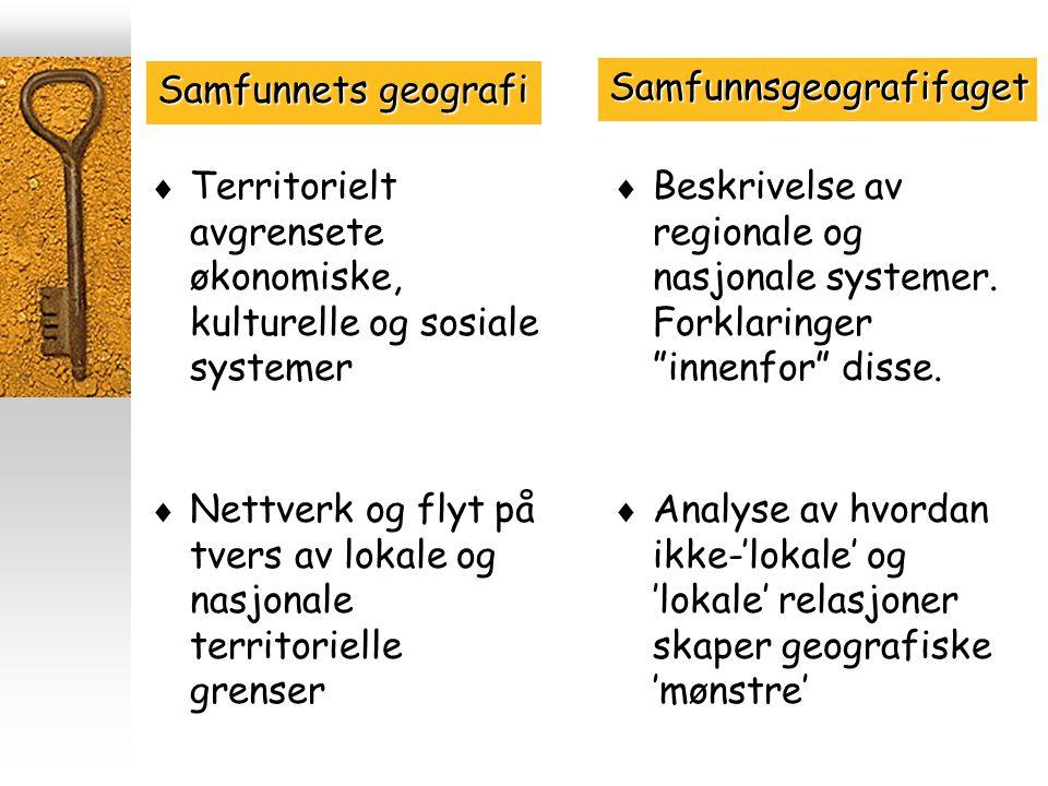  Territorielt avgrensete økonomiske, kulturelle og sosiale systemer  Analyse av hvordan ikke-'lokale' og 'lokale' relasjoner skaper geografiske 'mønstre' Samfunnets geografi Samfunnsgeografifaget  Nettverk og flyt på tvers av lokale og nasjonale territorielle grenser  Beskrivelse av regionale og nasjonale systemer.
