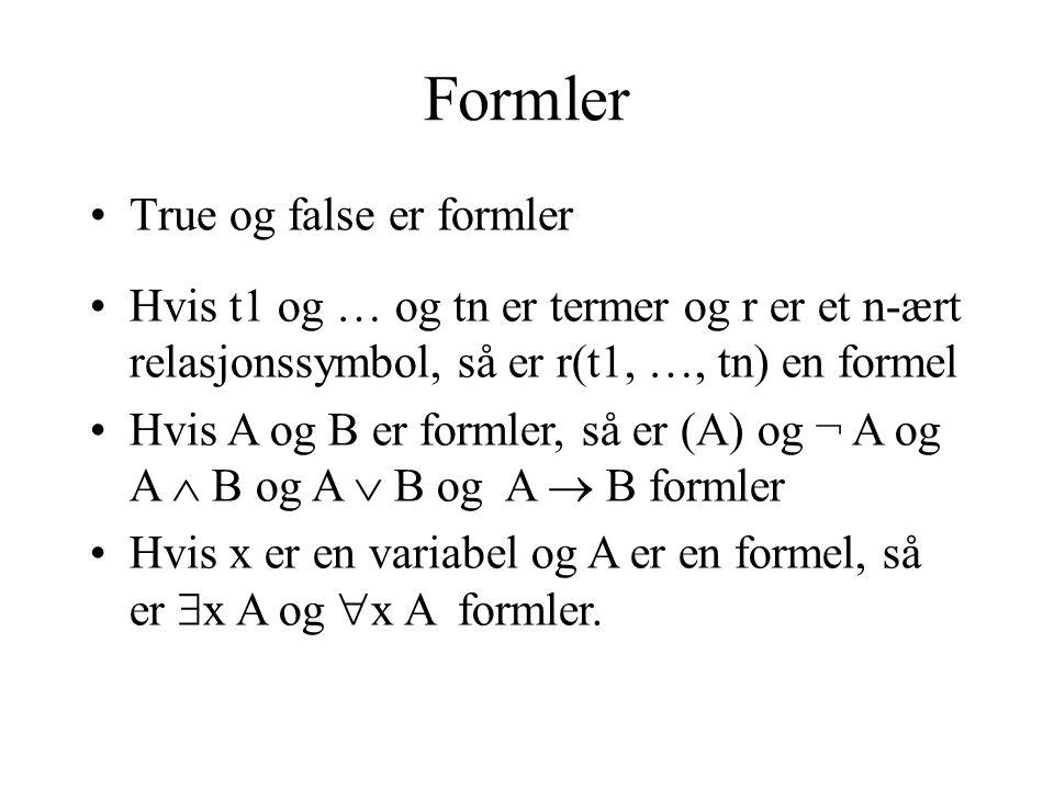 Formler True og false er formler Hvis t1 og … og tn er termer og r er et n-ært relasjonssymbol, så er r(t1, …, tn) en formel Hvis A og B er formler, så er (A) og ¬ A og A  B og A  B og A  B formler Hvis x er en variabel og A er en formel, så er  x A og  x A formler.