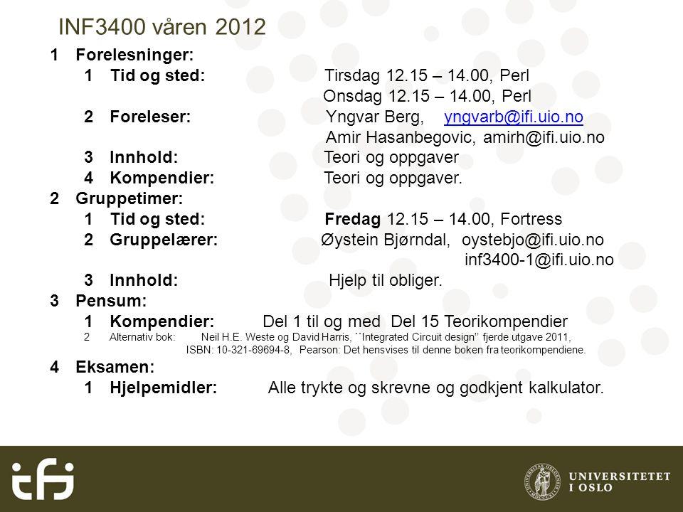 INF3400 våren 2012 1Forelesninger: 1Tid og sted: Tirsdag 12.15 – 14.00, Perl Onsdag 12.15 – 14.00, Perl 2Foreleser: Yngvar Berg, yngvarb@ifi.uio.noyng