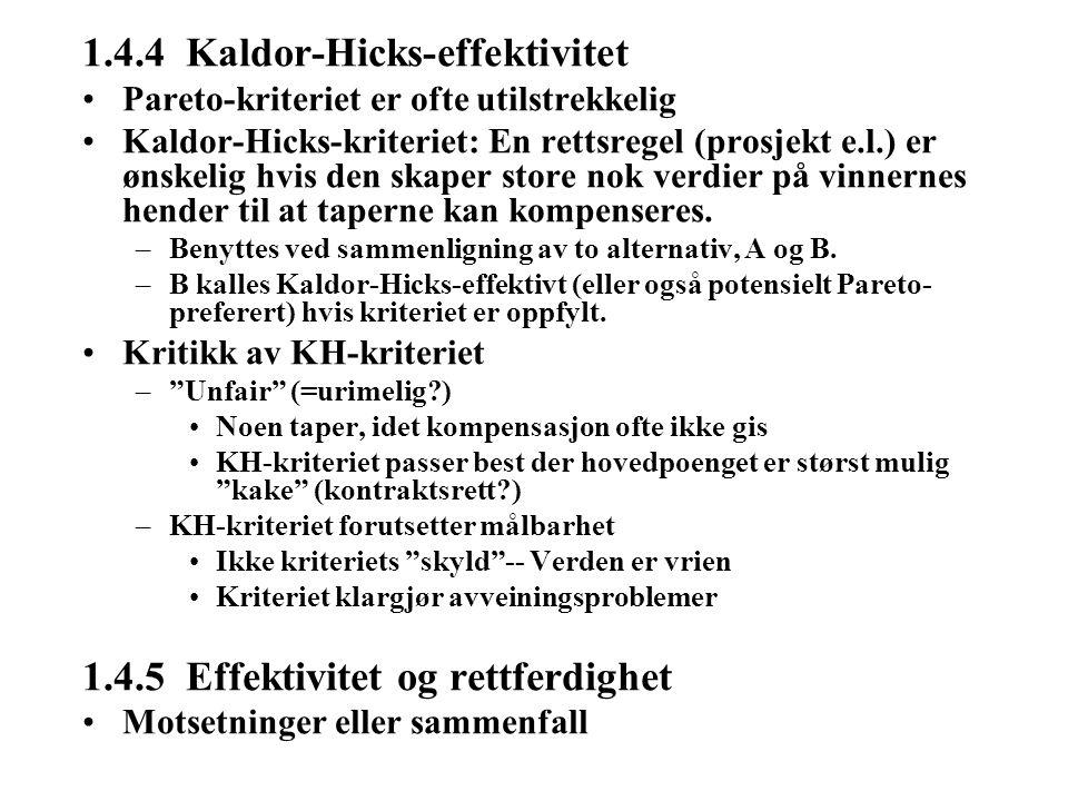 1.4.4 Kaldor-Hicks-effektivitet Pareto-kriteriet er ofte utilstrekkelig Kaldor-Hicks-kriteriet: En rettsregel (prosjekt e.l.) er ønskelig hvis den skaper store nok verdier på vinnernes hender til at taperne kan kompenseres.