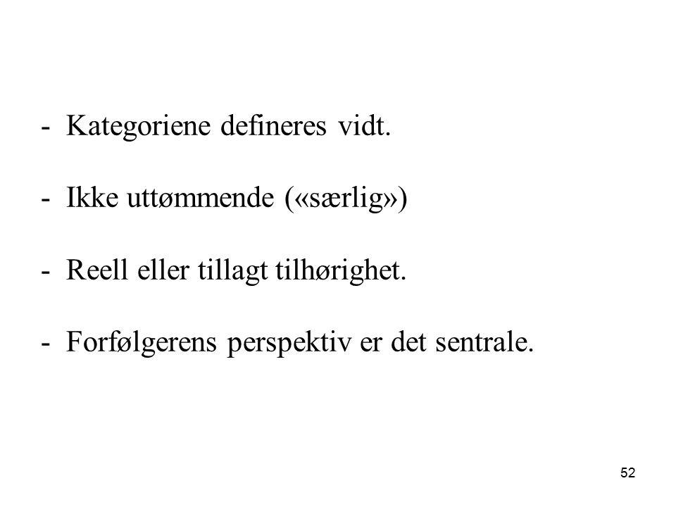 -Kategoriene defineres vidt. -Ikke uttømmende («særlig») -Reell eller tillagt tilhørighet. -Forfølgerens perspektiv er det sentrale. 52