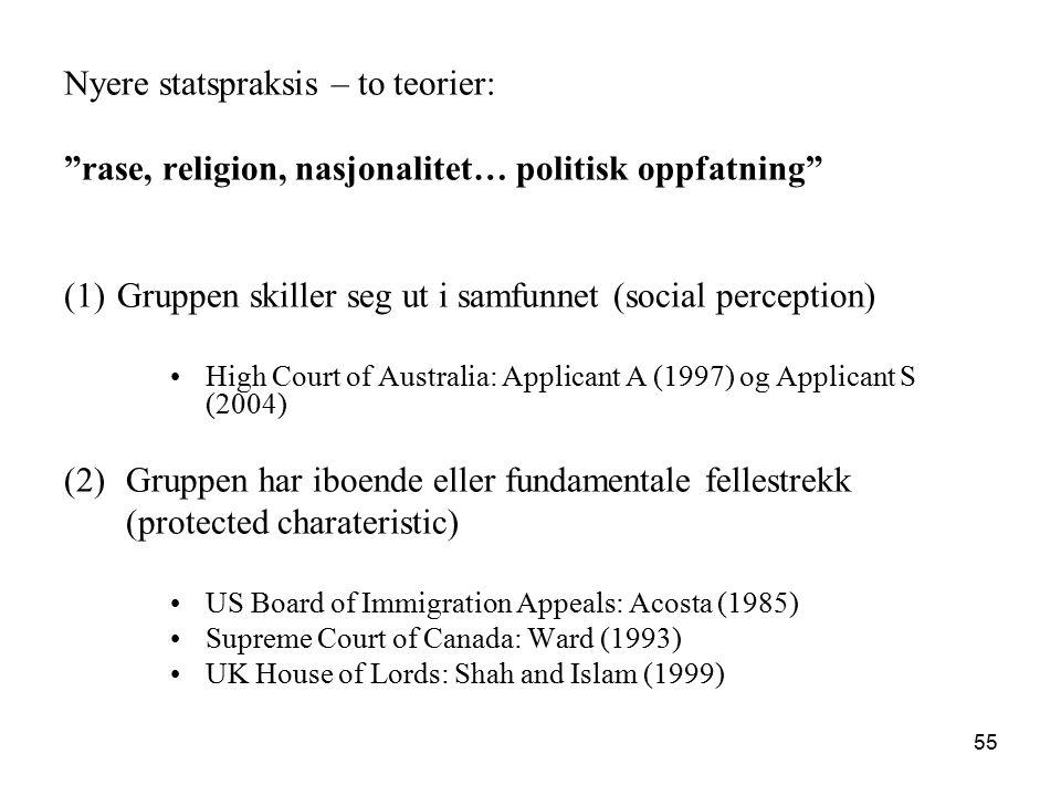 """Nyere statspraksis – to teorier: """"rase, religion, nasjonalitet… politisk oppfatning"""" (1) Gruppen skiller seg ut i samfunnet (social perception) High C"""