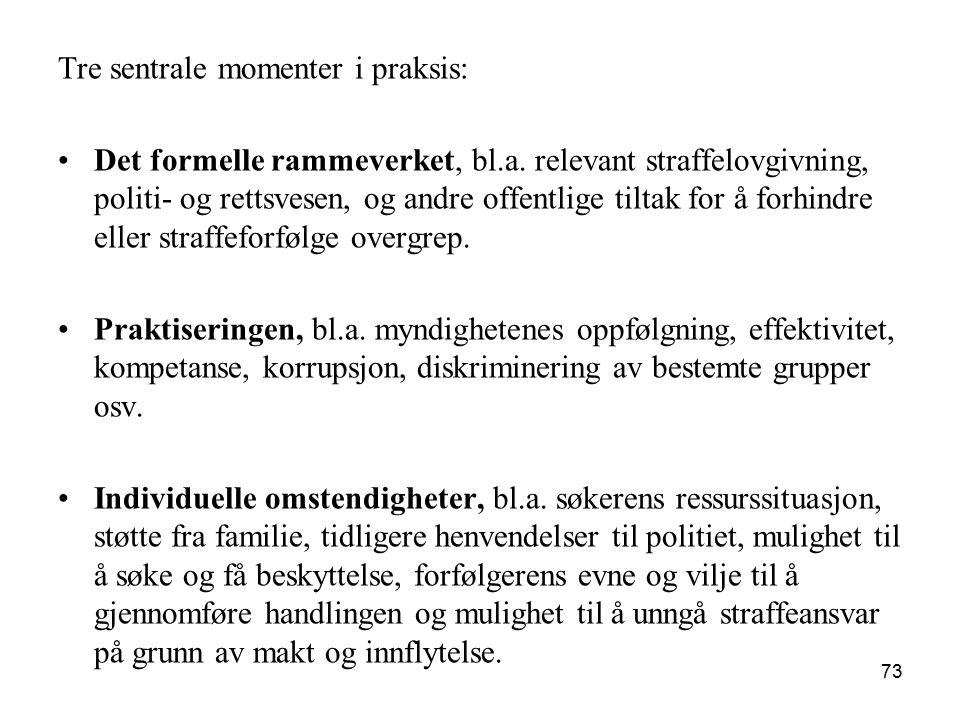 Tre sentrale momenter i praksis: Det formelle rammeverket, bl.a. relevant straffelovgivning, politi- og rettsvesen, og andre offentlige tiltak for å f