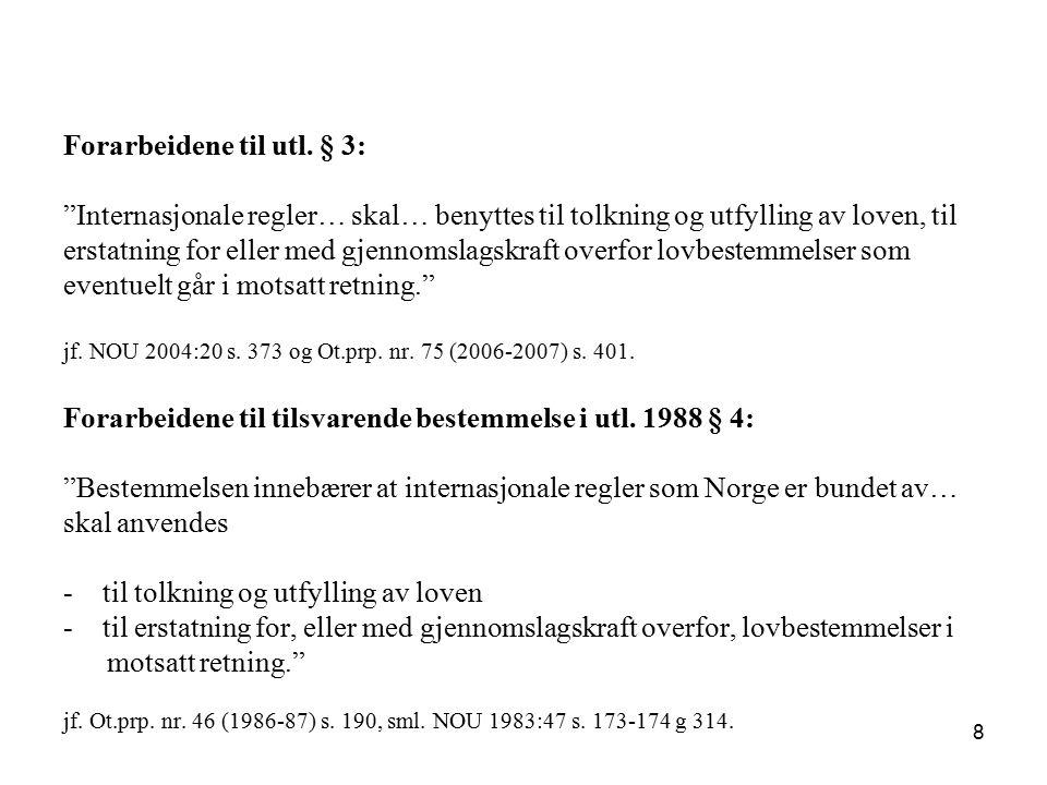 """Forarbeidene til utl. § 3: """"Internasjonale regler… skal… benyttes til tolkning og utfylling av loven, til erstatning for eller med gjennomslagskraft o"""