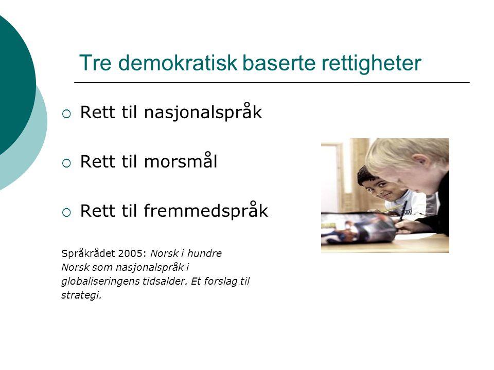 Tre demokratisk baserte rettigheter  Rett til nasjonalspråk  Rett til morsmål  Rett til fremmedspråk Språkrådet 2005: Norsk i hundre Norsk som nasjonalspråk i globaliseringens tidsalder.