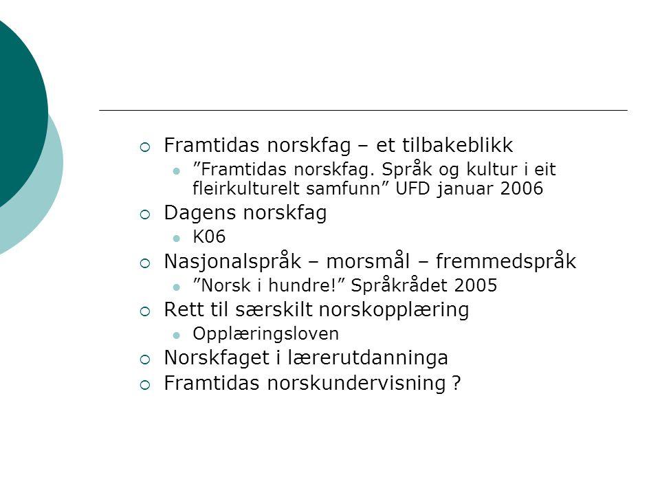 Skolens norskplaner 2005  Læreplan i norsk  Læreplan i norsk for elever med samisk som førstespråk  Læreplan i norsk for elever med tegnspråk som førstespråk  Læreplan i norsk som andrespråk for språklige minoriteter