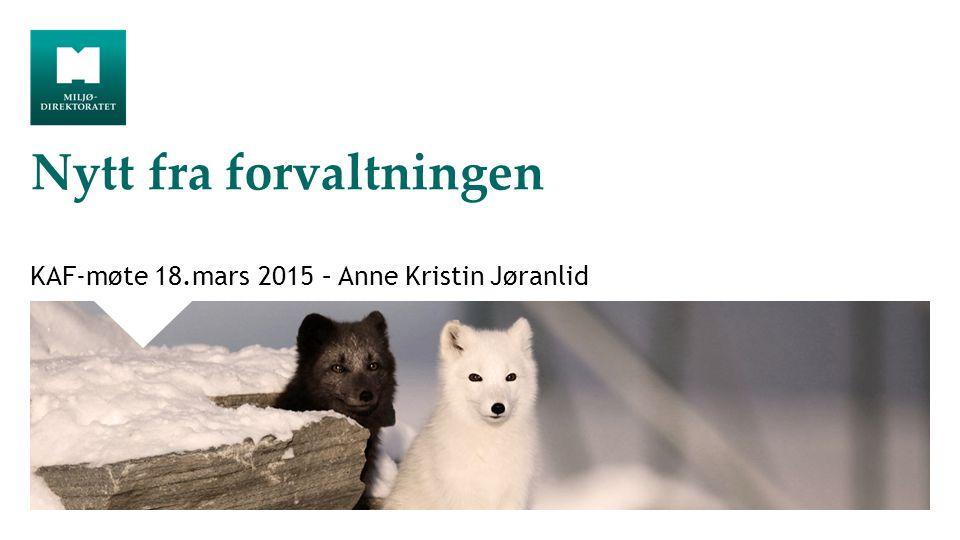 Nytt fra forvaltningen KAF-møte 18.mars 2015 – Anne Kristin Jøranlid