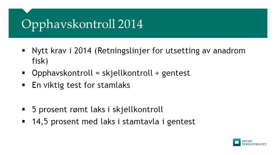 Opphavskontroll 2014  Nytt krav i 2014 (Retningslinjer for utsetting av anadrom fisk)  Opphavskontroll = skjellkontroll + gentest  En viktig test f