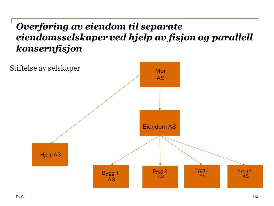 PwC Overføring av eiendom til separate eiendomsselskaper ved hjelp av fisjon og parallell konsernfisjon 114 Stiftelse av selskaper Mor AS Eiendom AS B