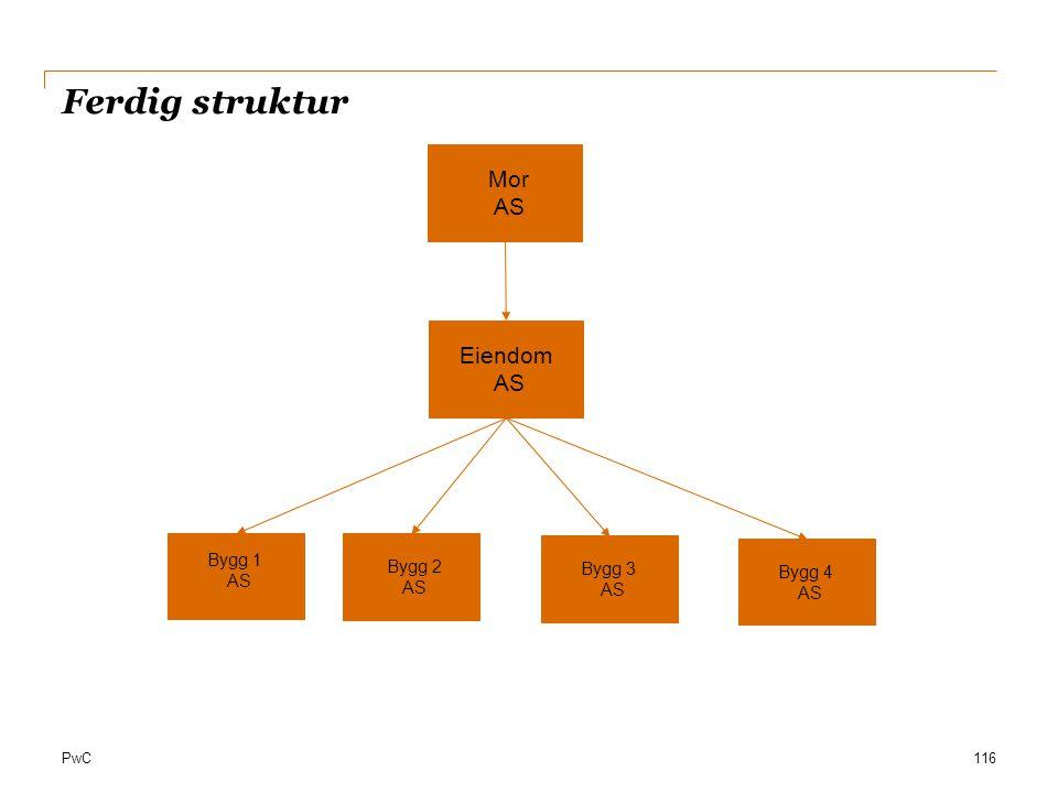 PwC Ferdig struktur 116 Mor AS Eiendom AS Bygg 1 AS Bygg 2 AS Bygg 3 AS Bygg 4 AS