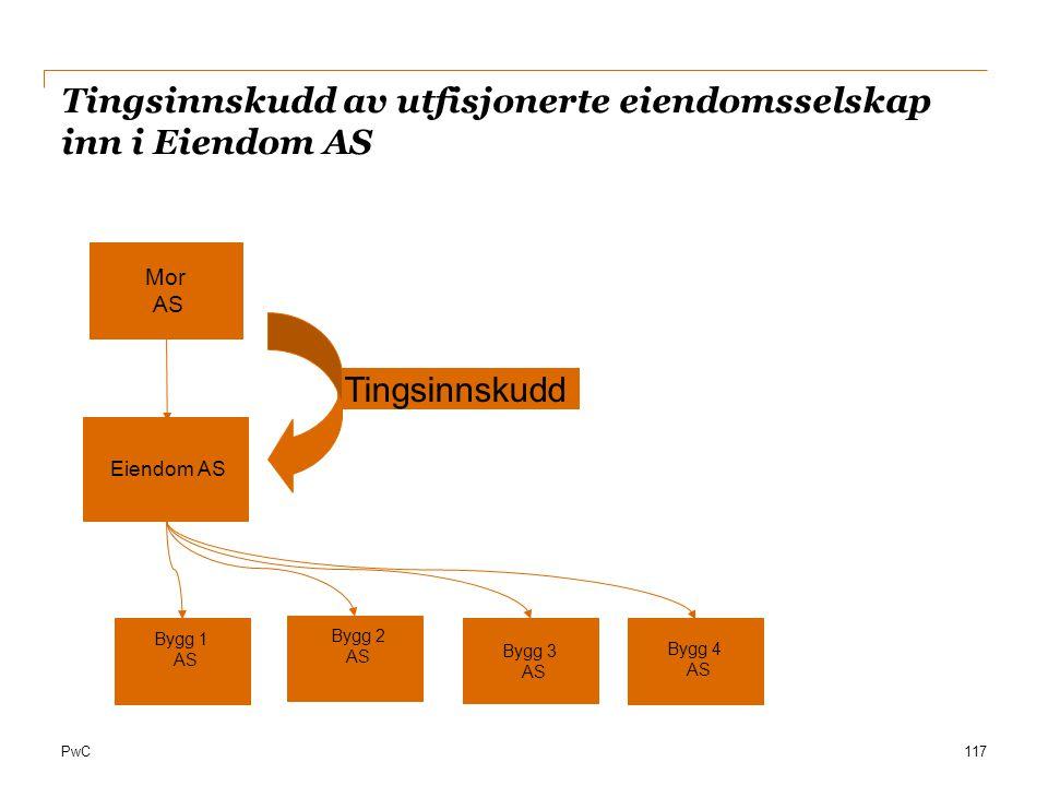 PwC Tingsinnskudd av utfisjonerte eiendomsselskap inn i Eiendom AS 117 Mor AS Tingsinnskudd Bygg 1 AS Bygg 2 AS Bygg 3 AS Bygg 4 AS Eiendom AS