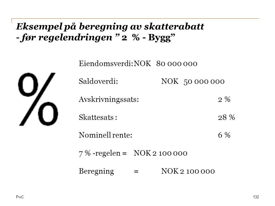 """PwC Eksempel på beregning av skatterabatt - før regelendringen """" 2 % - Bygg"""" 132 Eiendomsverdi:NOK 80 000 000 Saldoverdi:NOK 50 000 000 Avskrivningssa"""