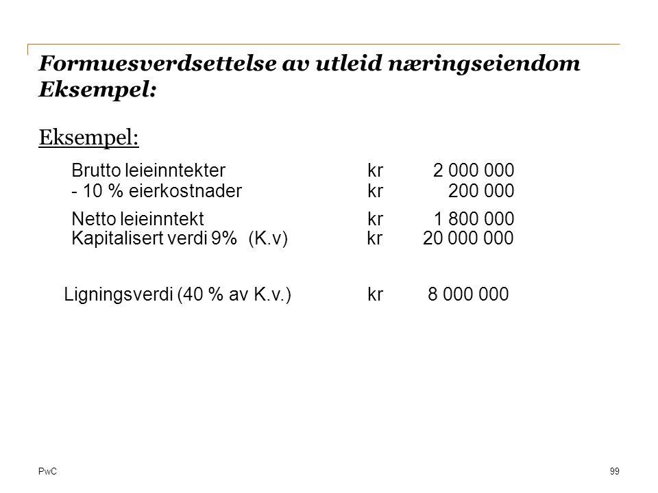 PwC Formuesverdsettelse av utleid næringseiendom Eksempel: Eksempel: Brutto leieinntekterkr2 000 000 - 10 % eierkostnaderkr 200 000 Netto leieinntektk