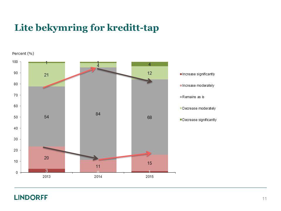Lite bekymring for kreditt-tap 11 Percent (%)