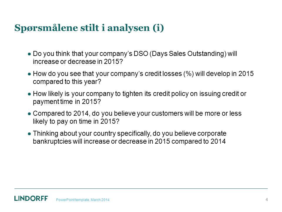 63 prosent forventer at norske konsumenter vil få flere betalingsanmerkninger i 2015 25 Percent (%)