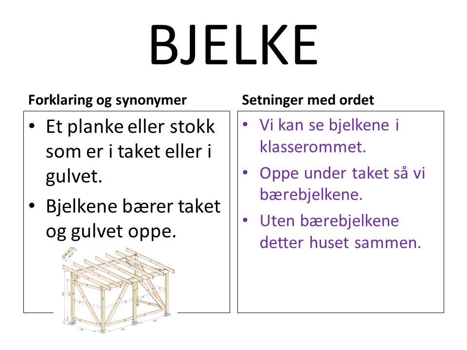 BJELKE Forklaring og synonymer Et planke eller stokk som er i taket eller i gulvet. Bjelkene bærer taket og gulvet oppe. Setninger med ordet Vi kan se