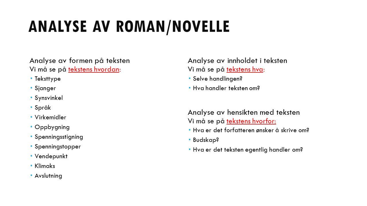 ANALYSE AV ROMAN/NOVELLE Analyse av formen på teksten Vi må se på tekstens hvordan:  Teksttype  Sjanger  Synsvinkel  Språk  Virkemidler  Oppbygn