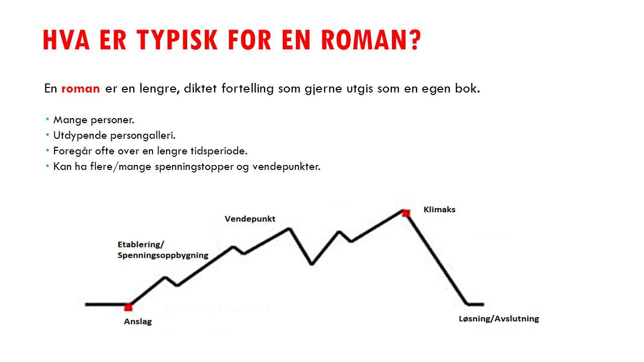 HVA ER TYPISK FOR EN ROMAN? En roman er en lengre, diktet fortelling som gjerne utgis som en egen bok.  Mange personer.  Utdypende persongalleri. 