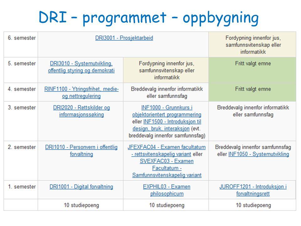 DRI – programmet – oppbygning DRI 1001 Digital forvaltning Introduksjon 130809 Arild Jansen 2